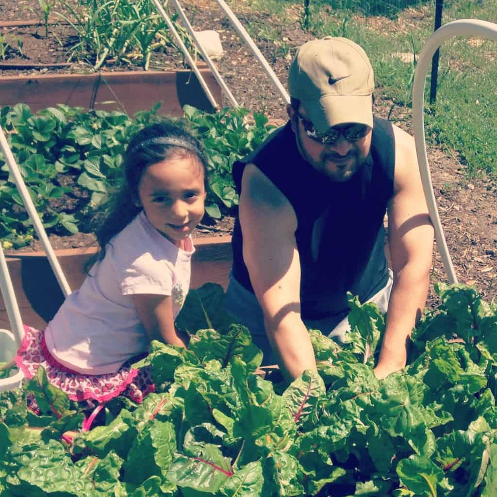 Tom and his daughter, Laila, in their organic garden.  Credit: Tom Arguello