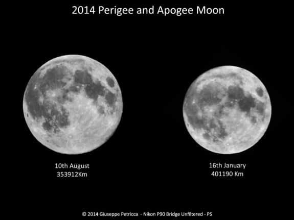 1_Astrophotographer Giuseppe Petricca of Sulmona, Abruzzo, Italym created this comparison view of the biggest and smallest moons of 2014.