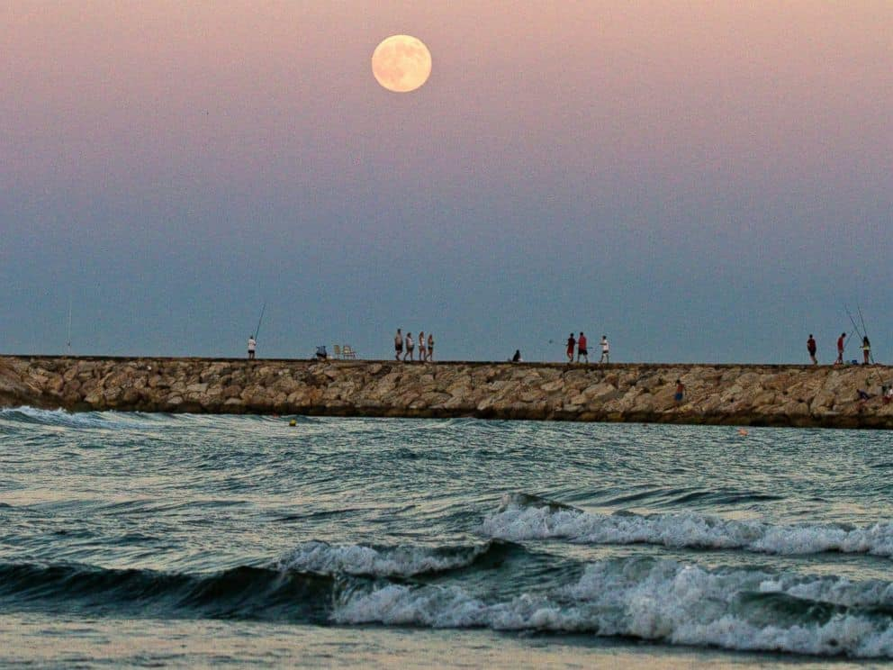 2_The supermoon rises over the Mediterranean sea at Cabopino beach in southern Spain, August 10, 2014