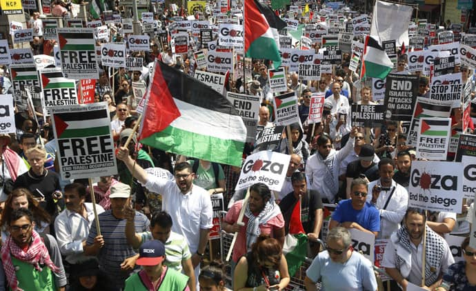 Demonstrator protest outside the Israeil Embassy in west London