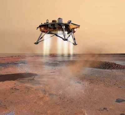 Artist's impression of the Phoenix spacecraft as it lands on Mars. An artist's rendition of the Phoenix Mars probe during landing. The sophisticated landing system on Phoenix allows the spacecraft to touch down within 10 kilometres (6.2 mi) of the targeted landing area. Thrusters are started when the lander is 570 metres (1,870 ft) above the surface. The navigation system is capable of detecting and avoiding hazards on the surface of Mars. (Photo: Wikimedia Commons)