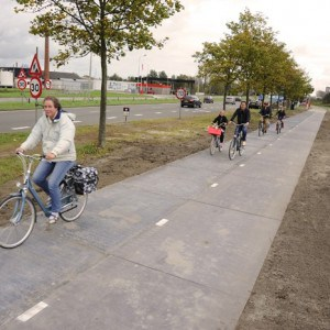 SolaRoad in Krommenie, the Netherlands, will be the world's first cycle path with embedded solar panels. Photograph: SolaRoad