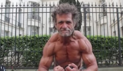 homeless body builder