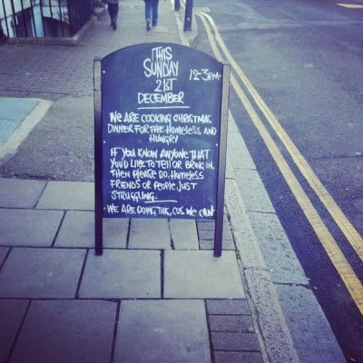 A sign offering free meals for the homeless went viral