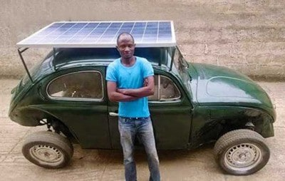 Nigerian Student Converts His VW Beetle Into a Solar & Wind Powered Car