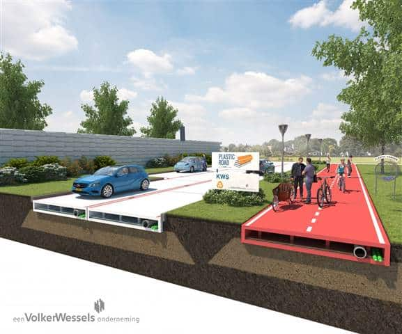 The PlasticRoad design features a 'hollow' space that can be used for cables, pipes and rainwater.  Credit: VolkerWessels