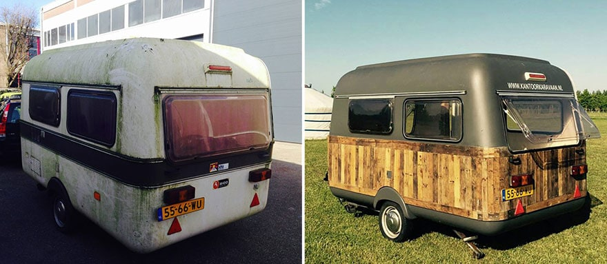 an old caravan into a mobile office space must see true activist