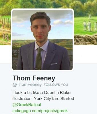 Thom's Twitter profile