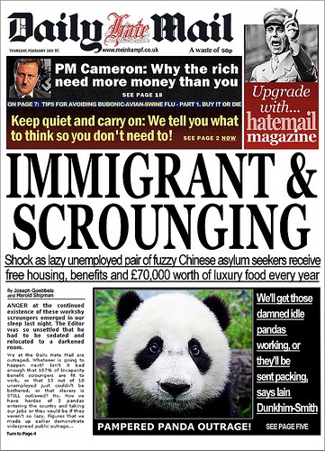 A parodied Mail headline uses a Chinese panda to highlight the newspaper's hysteria