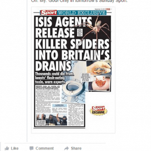 This is a real headline from the Sunday Sport: you have to ask yourself, would ISIS's PR team really be telling us all this?