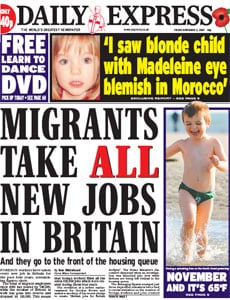 While the Express makes a ridiculous claim that there are no jobs left for British people due to immigration
