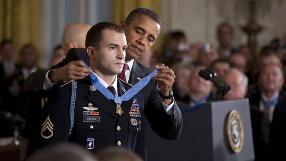 US Army, Flickr, CC. A soldier receives a medal of honor