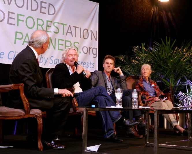 Avoided Deforestation Partners Rio+20 Event with Jeff Horowitz moderating discussion between Richard Branson, Edward Norton & Jane Goodall (Photo: Wikimedia Commons)