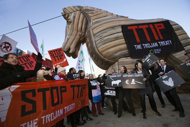 Protests against TTIP have been widespread in Europe. Credit: Global Justice Now, Flickr