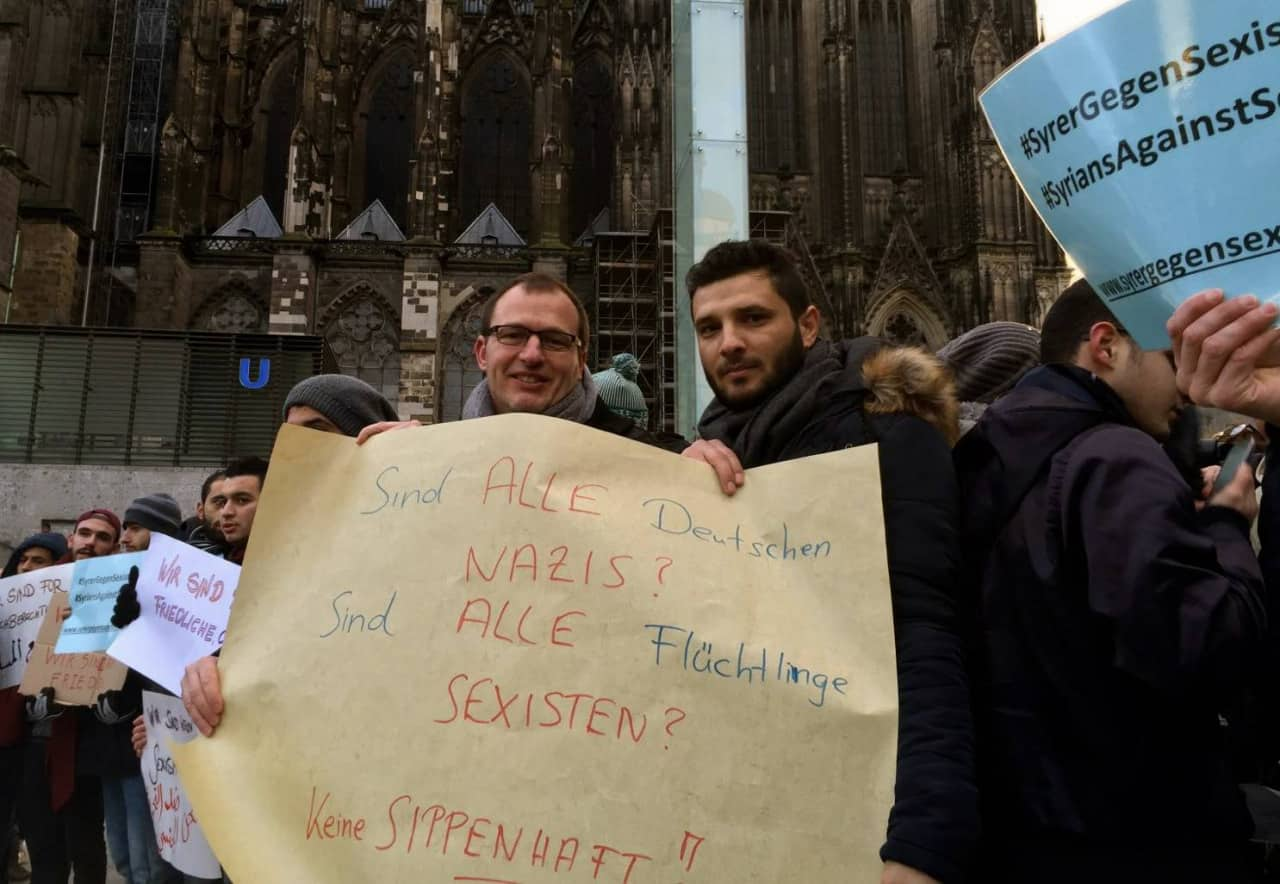 Germans demonstrate against the attacks alongside Syrians. Credit: Syrians Against Sexism.