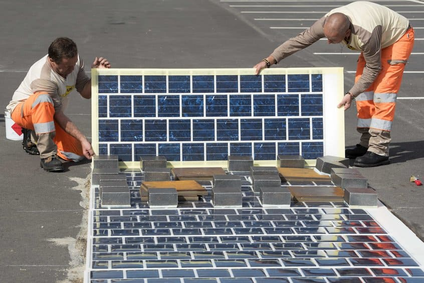 Solar roadways being laid. Credit: Colas, France.
