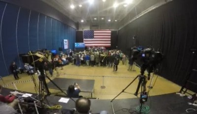 Hillary Clinton's small crowd at the Dubuque, Iowa 5 Flags Center