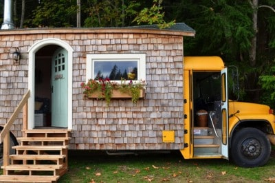 Young Family Transforms Old School Bus Into Beautiful Cottage On Wheels [Watch]
