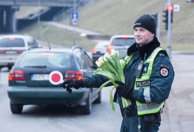 On International Women?s Day, Police In Lithuania Spent Their Shifts Handing Out Flowers