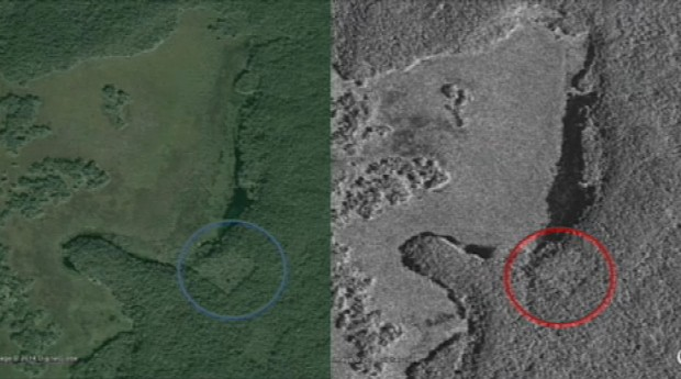 Images of possible structures in forgotten city. (Photo: Canadian Space Agency)