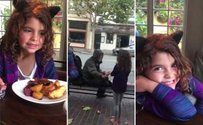 Eight-Year-Old Gives Her Hot Meal To A Homeless Man, Then 2 Weeks Later THIS Happens