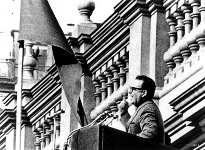 Salvador Allende making a speech in Patricio Guzmán's THE BATTLE OF CHILE, an Icarus Films Home Video release.