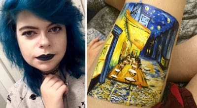 Instead Of Self-Harming, This Teen Recreated A Van Gogh Painting On Her Leg