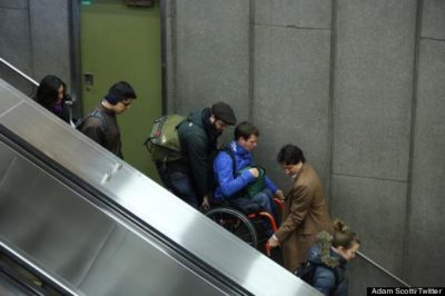 Justin Trudeau Helps Carry A Man In A Wheelchair Down Stairs
