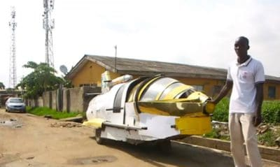 Nigerian Man Uses Scraps To Invent Jet Car That Operates On Land And Water