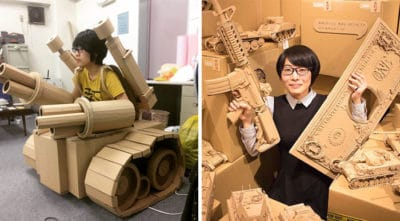 Japanese Artist Uses Her Talents To Create Mind-Blowing Sculptures From Cardboard