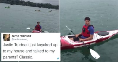 Justin Trudeau Just Kayaked Up To Someone's House To Talk About Climate Change