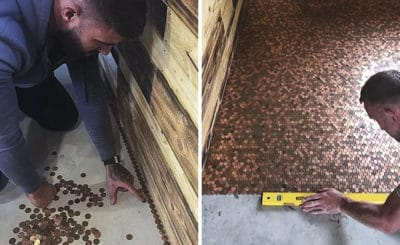Barber Quoted £1000 For New Shop Floor Decided To Cover It With 70,000 Pennies Instead