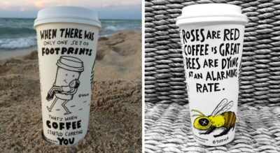 This Guy Was Bored With Blank Coffee Cups, So He Started Drawing Comics On Them